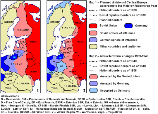Carte des accords Ribbentrop-Molotov